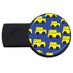 A Fun Cartoon Taxi Cab Tiling Pattern Usb Flash Drive Round (2 Gb)