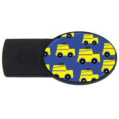 A Fun Cartoon Taxi Cab Tiling Pattern Usb Flash Drive Oval (2 Gb)