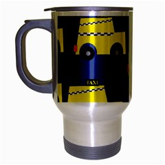 A Fun Cartoon Taxi Cab Tiling Pattern Travel Mug (silver Gray) by Nexatart