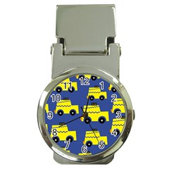 A Fun Cartoon Taxi Cab Tiling Pattern Money Clip Watches by Nexatart