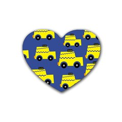 A Fun Cartoon Taxi Cab Tiling Pattern Rubber Coaster (heart)
