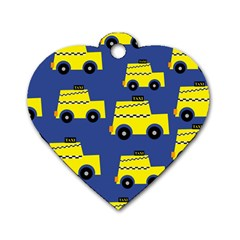 A Fun Cartoon Taxi Cab Tiling Pattern Dog Tag Heart (two Sides)