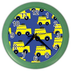 A Fun Cartoon Taxi Cab Tiling Pattern Color Wall Clocks