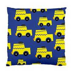 A Fun Cartoon Taxi Cab Tiling Pattern Standard Cushion Case (one Side) by Nexatart
