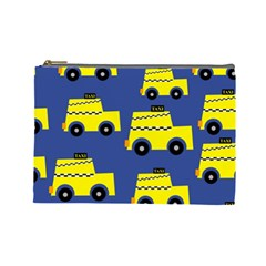 A Fun Cartoon Taxi Cab Tiling Pattern Cosmetic Bag (large)  by Nexatart