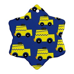 A Fun Cartoon Taxi Cab Tiling Pattern Ornament (snowflake)