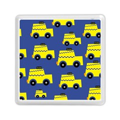 A Fun Cartoon Taxi Cab Tiling Pattern Memory Card Reader (square)  by Nexatart