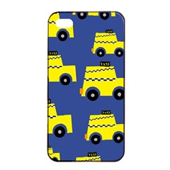 A Fun Cartoon Taxi Cab Tiling Pattern Apple Iphone 4/4s Seamless Case (black)