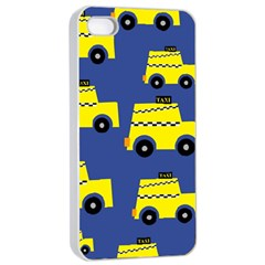 A Fun Cartoon Taxi Cab Tiling Pattern Apple Iphone 4/4s Seamless Case (white)