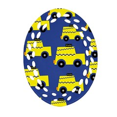 A Fun Cartoon Taxi Cab Tiling Pattern Ornament (oval Filigree)