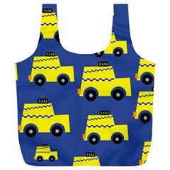 A Fun Cartoon Taxi Cab Tiling Pattern Full Print Recycle Bags (l)