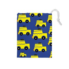 A Fun Cartoon Taxi Cab Tiling Pattern Drawstring Pouches (medium)  by Nexatart