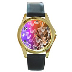 Clipart Hands Background Pattern Round Gold Metal Watch by Nexatart