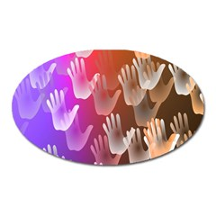 Clipart Hands Background Pattern Oval Magnet by Nexatart