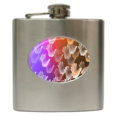 Clipart Hands Background Pattern Hip Flask (6 Oz)