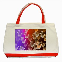 Clipart Hands Background Pattern Classic Tote Bag (red) by Nexatart