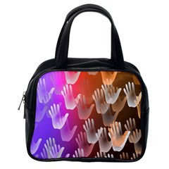 Clipart Hands Background Pattern Classic Handbags (one Side)