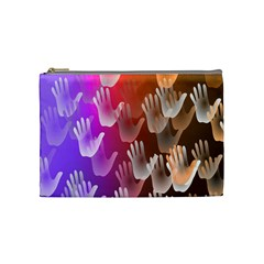 Clipart Hands Background Pattern Cosmetic Bag (medium)  by Nexatart