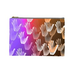 Clipart Hands Background Pattern Cosmetic Bag (large)