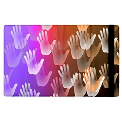 Clipart Hands Background Pattern Apple Ipad 2 Flip Case