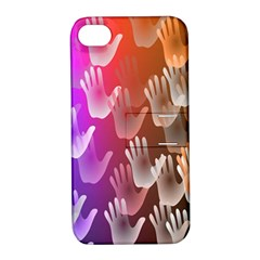 Clipart Hands Background Pattern Apple Iphone 4/4s Hardshell Case With Stand