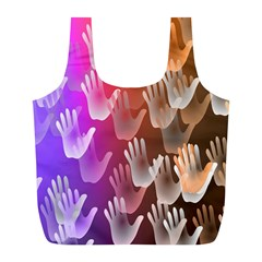 Clipart Hands Background Pattern Full Print Recycle Bags (l)