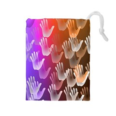 Clipart Hands Background Pattern Drawstring Pouches (large)