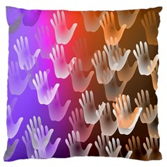 Clipart Hands Background Pattern Large Flano Cushion Case (two Sides)