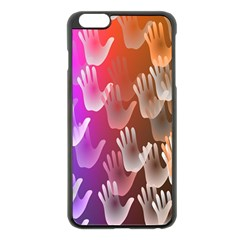 Clipart Hands Background Pattern Apple Iphone 6 Plus/6s Plus Black Enamel Case