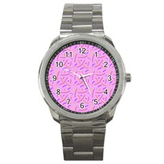Confetti Background Pattern Pink Purple Yellow On Pink Background Sport Metal Watch by Nexatart