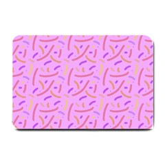 Confetti Background Pattern Pink Purple Yellow On Pink Background Small Doormat