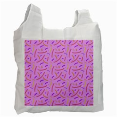 Confetti Background Pattern Pink Purple Yellow On Pink Background Recycle Bag (one Side)