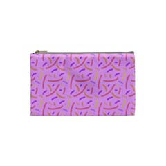 Confetti Background Pattern Pink Purple Yellow On Pink Background Cosmetic Bag (small)  by Nexatart