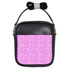 Confetti Background Pattern Pink Purple Yellow On Pink Background Girls Sling Bags