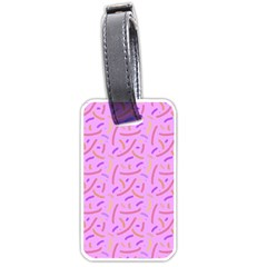 Confetti Background Pattern Pink Purple Yellow On Pink Background Luggage Tags (one Side)