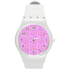 Confetti Background Pattern Pink Purple Yellow On Pink Background Round Plastic Sport Watch (m)