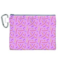 Confetti Background Pattern Pink Purple Yellow On Pink Background Canvas Cosmetic Bag (XL)