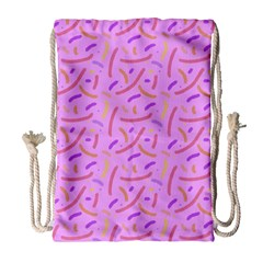 Confetti Background Pattern Pink Purple Yellow On Pink Background Drawstring Bag (large) by Nexatart