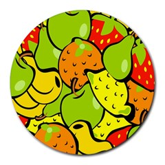 Digitally Created Funky Fruit Wallpaper Round Mousepads
