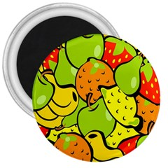Digitally Created Funky Fruit Wallpaper 3  Magnets by Nexatart