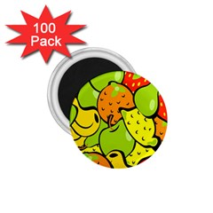 Digitally Created Funky Fruit Wallpaper 1 75  Magnets (100 Pack)