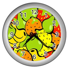 Digitally Created Funky Fruit Wallpaper Wall Clocks (silver)  by Nexatart