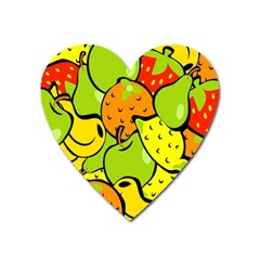 Digitally Created Funky Fruit Wallpaper Heart Magnet by Nexatart
