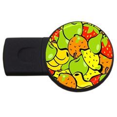 Digitally Created Funky Fruit Wallpaper Usb Flash Drive Round (4 Gb) by Nexatart