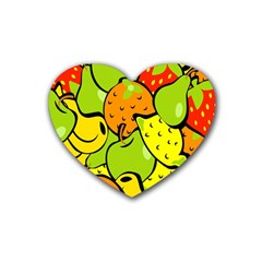 Digitally Created Funky Fruit Wallpaper Heart Coaster (4 Pack)  by Nexatart