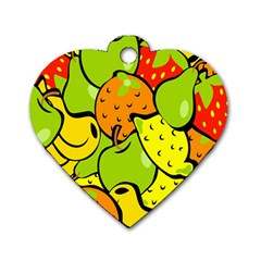 Digitally Created Funky Fruit Wallpaper Dog Tag Heart (two Sides) by Nexatart