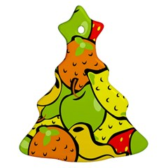 Digitally Created Funky Fruit Wallpaper Ornament (christmas Tree)