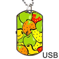 Digitally Created Funky Fruit Wallpaper Dog Tag Usb Flash (two Sides) by Nexatart
