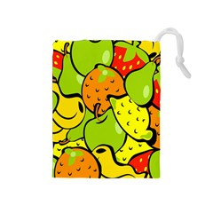 Digitally Created Funky Fruit Wallpaper Drawstring Pouches (medium)  by Nexatart