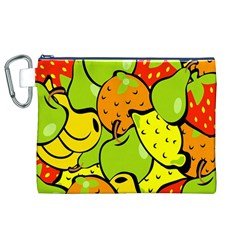 Digitally Created Funky Fruit Wallpaper Canvas Cosmetic Bag (xl) by Nexatart